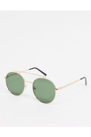 AJ Morgan Round sunglasses in with flat brow bar detail