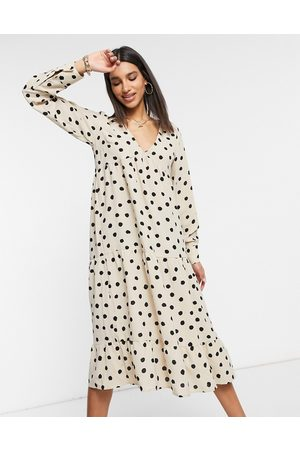 Pretty Lavish Long sleeve midaxi shirt dress in spot