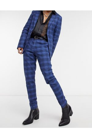 ASOS Super skinny soft tailored suit trousers in dark windowpane check