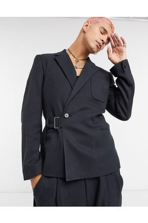 ASOS Slim crop suit jacket in black twill with utility strapping detail