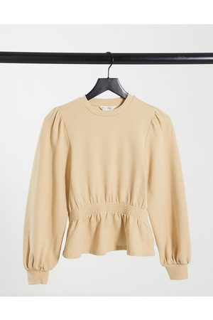 Miss Selfridge Shirred waist sweatshirt in camel