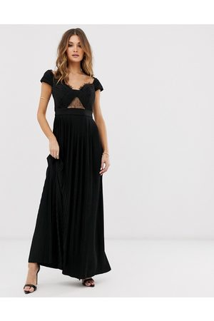ASOS Premium lace and pleat bardot maxi dress in