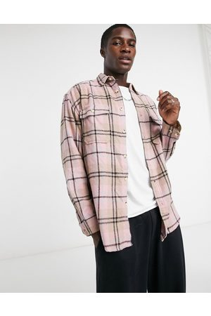 ASOS 90s oversized wool rich pastel check shirt in multi