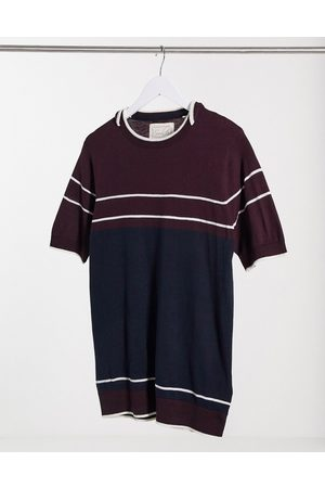 Soul Star Stripe t-shirt in and burgundy