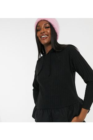 New Look Knitted hoodie with cotton hem in