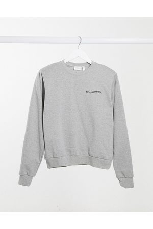 ASOS Sweatshirt with padded shoulder with logo in marl