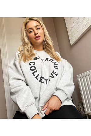 Weekend Collective ASOS Curve oversized sweatshirt with logo in marl