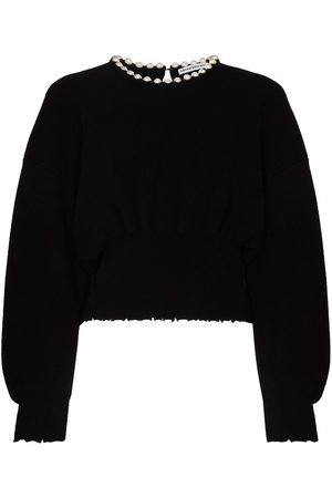 Alexander Wang Pearl-detail cropped jumper