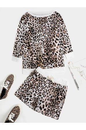 YOINS Leopard Round Neck Long Sleeves Two Piece Outfit