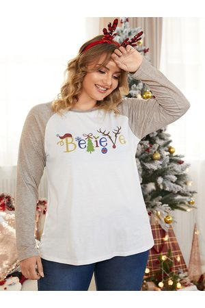 YOINS Plus Size Crew Neck Patchwork Letter Christmas Long Sleeves Tee