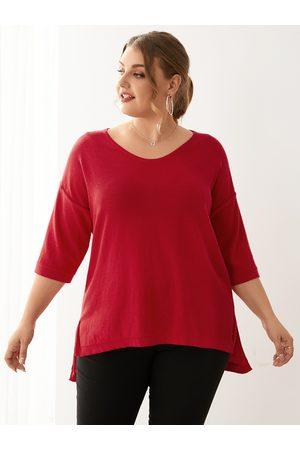 YOINS Plus Size V-neck 3/4 Length Sleeves Sweater