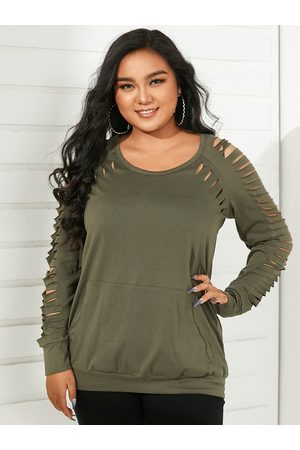 YOINS Plus Size Round Neck Side Pockets Cut Out Long Sleeves Sweatshirt