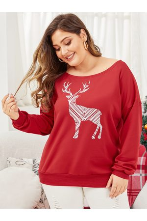 YOINS Plus Size Christmas Deer Printing Sweatshirt