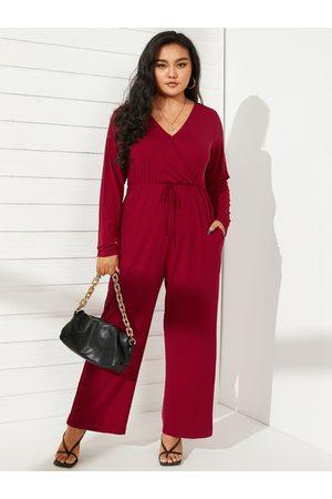 YOINS Plus Size V-neck Side Pockets Wide Leg Long Sleeves Jumpsuit