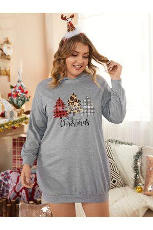 YOINS Plus Size Graphic Hooded Design Christmas Long Sleeves Sweatshirt