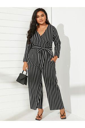 YOINS Plus Size V-neck Striped Belt Design Wide Leg Long Sleeves Jumpsuit
