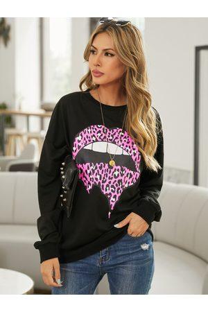 YOINS Leopard Lip Pattern Crew Neck Long Sleeves Sweatshirt