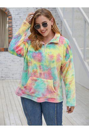 YOINS Plus Size Lapel Collar Tie Dye Pocket Design Long Sleeves Sweatshirt
