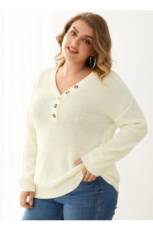 YOINS Plus Size V-neck Button Design Long Sleeves Sweater