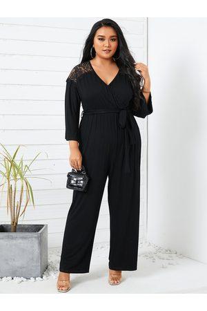 YOINS Plus Size Lace Patchwork V-neck Wrap Design 3/4 Length Sleeves Jumpsuit