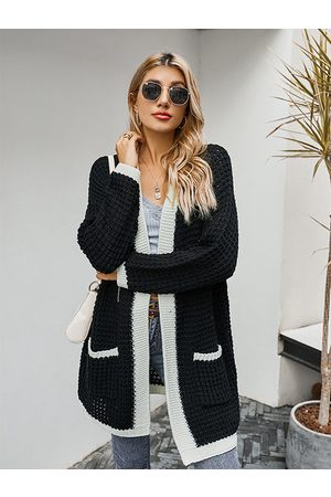 YOINS Patchwork Two Large Pockets Long Sleeves Cardigan