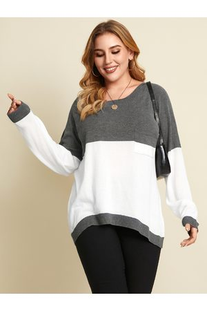 YOINS Plus Size Round Neck Patchwork Long Sleeves Sweater