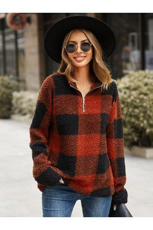 YOINS Plaid Zip Design Long Sleeves Sweatshirt