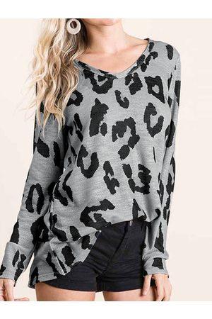 YOINS Leopard V-neck Long Sleeves Knit Top