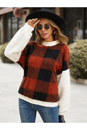 YOINS Plaid Crew Neck Long Sleeves Sweatshirt