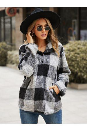 YOINS Pullover Plaid Long sleeves Sweatshirt