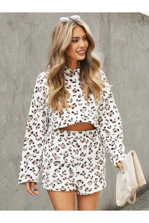 YOINS White Leopard Pullover Long Sleeves Two Piece Outfit