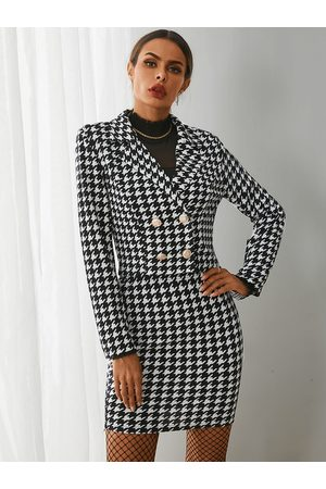 YOINS Black Houndstooth Long Sleeves Two Piece Whith Skirt