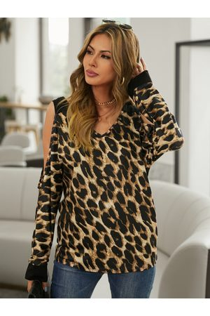 YOINS Brown Leopard Patchwork Cold Shoulder Long Sleeves Tee