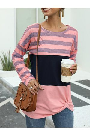YOINS Striped Color Block Twisted Round Neck Long Sleeves Tee