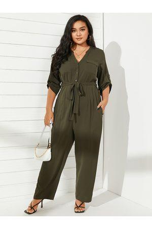 YOINS Plus Size V-neck Belt Design Wide Leg Long Sleeves Jumpsuit