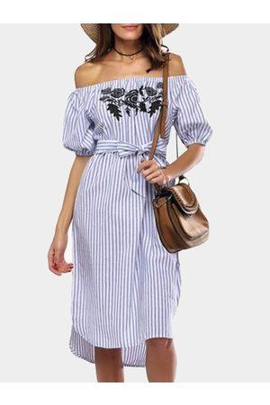 YOINS Women Midi Dresses - Stripe Embroidered Off The Shoulder Half Sleeves Midi Dress
