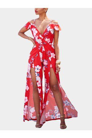 YOINS Random Floral Print Strapless & Slit Maxi Dress