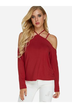 YOINS Open Shoulder Long Sleeves Causal T-shirt