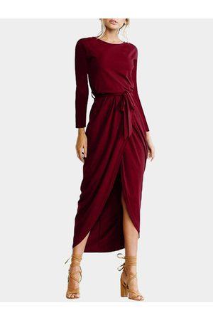 YOINS Plain Cross Hem Maxi Dresses with Belt