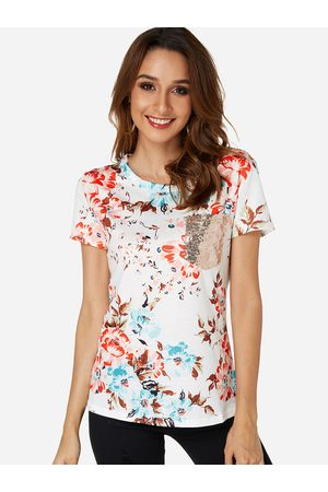 YOINS Sequins Embellished Floral Print Round Neck Short Sleeves T-shirt