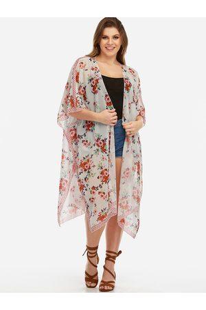 YOINS Plus Size Floral Print Half Sleeves Kimono