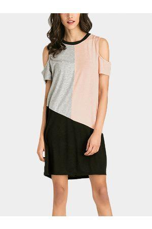 YOINS Contrast Color Cold Shoulder Mini Dress