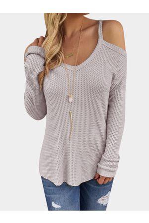 YOINS Light Thin Shoulder Cold Shoulder Long Sleeve T-shirt