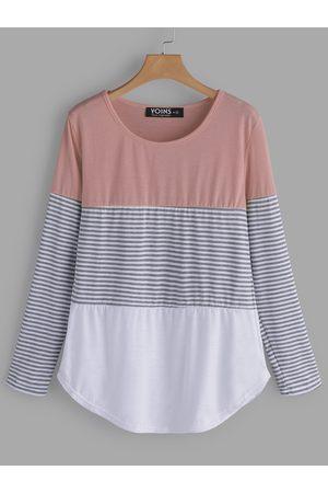 YOINS Pink Stripe Round Neck Long Sleeves T-shirts
