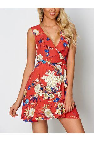 YOINS Random Floral Print V-neck Sleeveless Drawstring Waist Dress