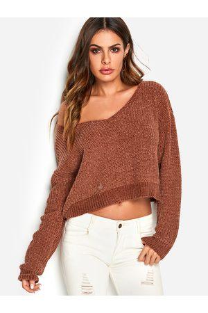 YOINS Rust V-neck One Shoulder Long Sleeves Sweater