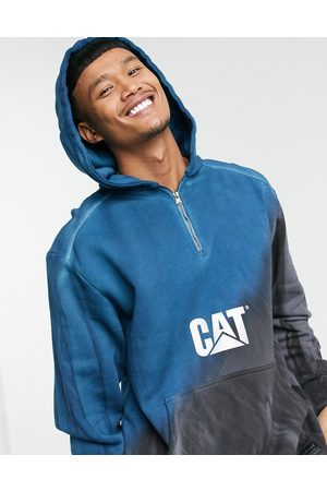 Cat Footwear Caterpillar reflective chest logo heavy washed dip dyed hoodie in prussian /grey
