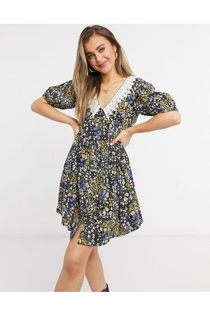 ASOS Women Printed Dresses - Button through mini smock dress with crochet peter pan collar in ditsy floral print