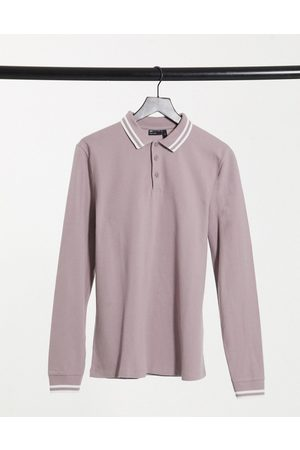 ASOS Tipped pique long sleeve polo shirt in mauve
