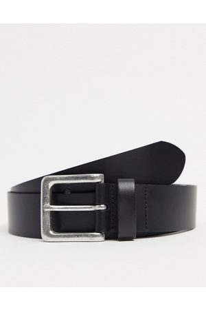 ASOS Leather wide belt in with burnished silver buckle